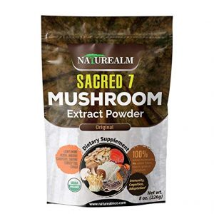 SACRED 7 Organic Mushroom Extract Powder - Reishi, Maitake, Cordyceps, Shiitake, Lion's Mane, Turkey Tail, Chaga - 226g - Supplement - Add to Coffee/Shakes/Smoothies (Original)